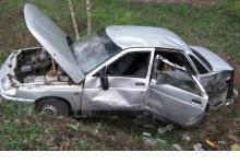 """Водитель """"десятки"""" улетел в кювет на дороге вблизи Дзержинска"""